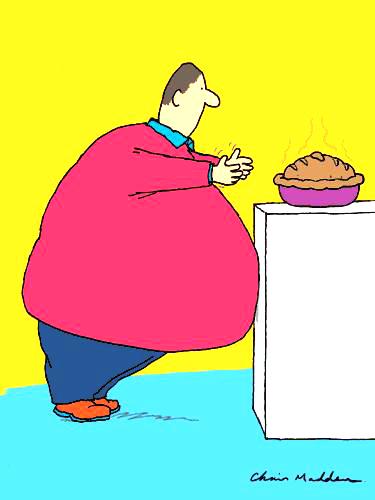fat man at refirgerator